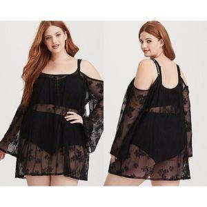 Torrid Black Mesh Floral Embroidered Swim Dress